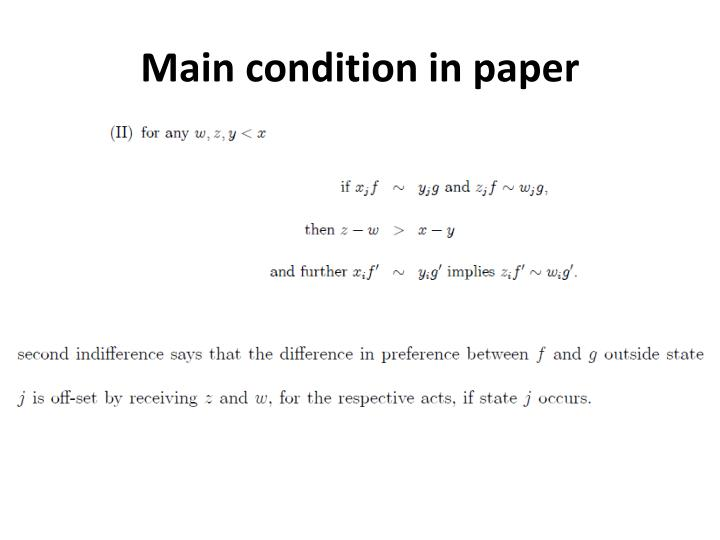 Main condition in paper