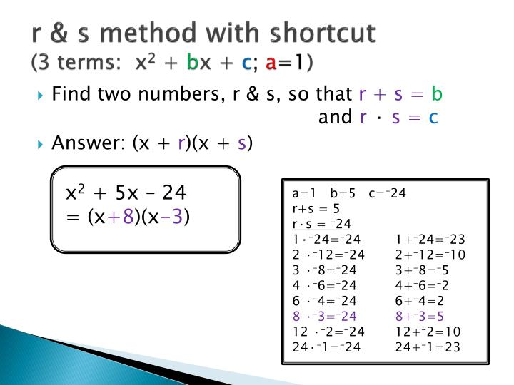 r & s method with shortcut