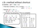 r s method without shortcut 3 terms a x 2 b x c