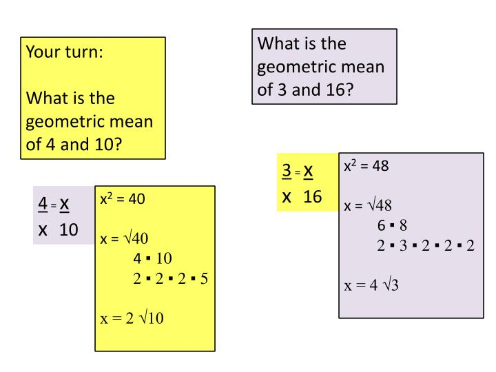 What is the geometric mean of 3 and 16?