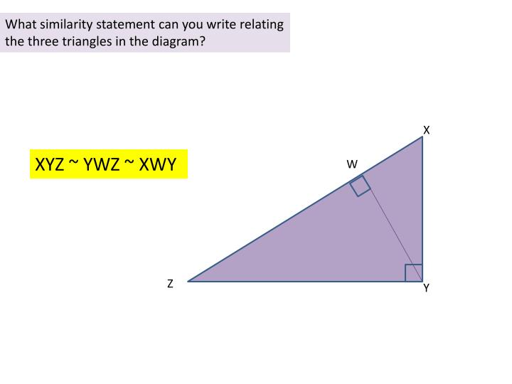 What similarity statement can you write relating the three triangles in the diagram?