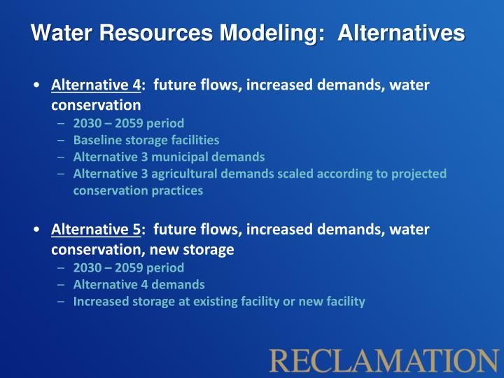 Water Resources Modeling:  Alternatives