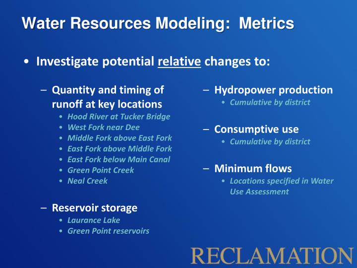 Water Resources Modeling:  Metrics