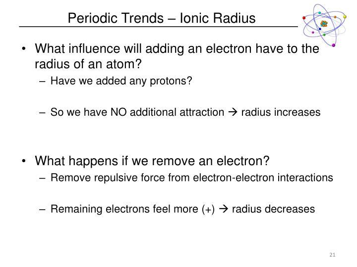 Periodic Trends – Ionic Radius