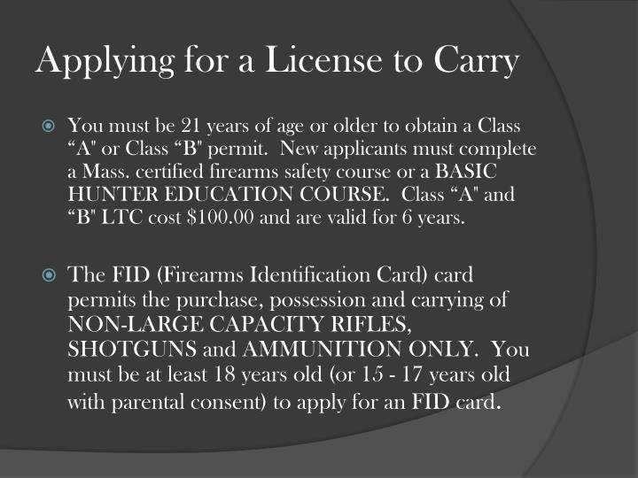 Applying for a License to Carry