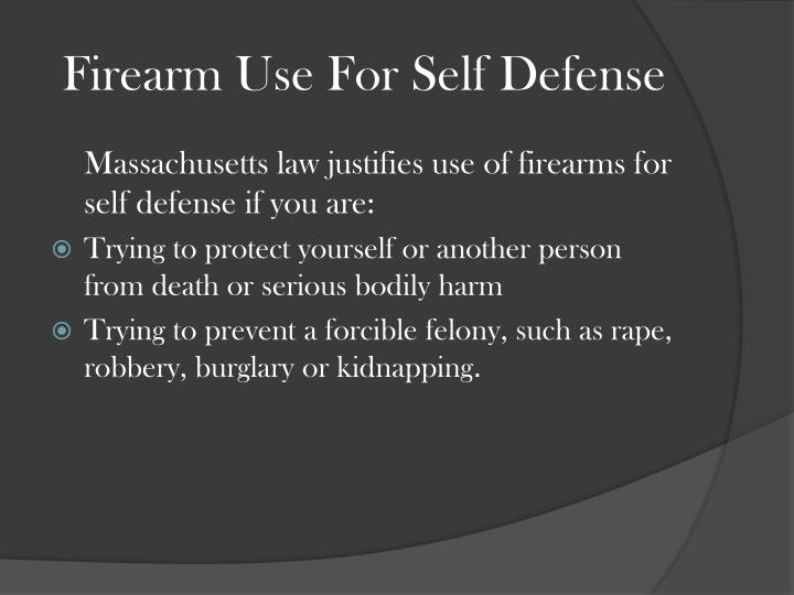 Firearm Use For Self Defense