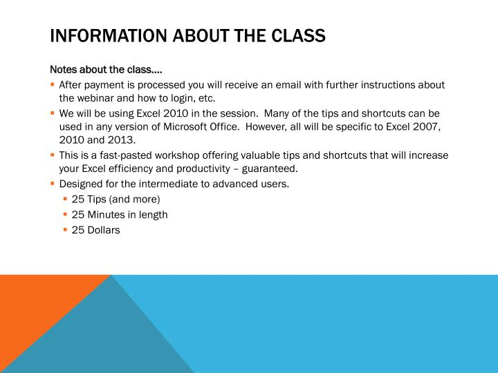 Information About the Class