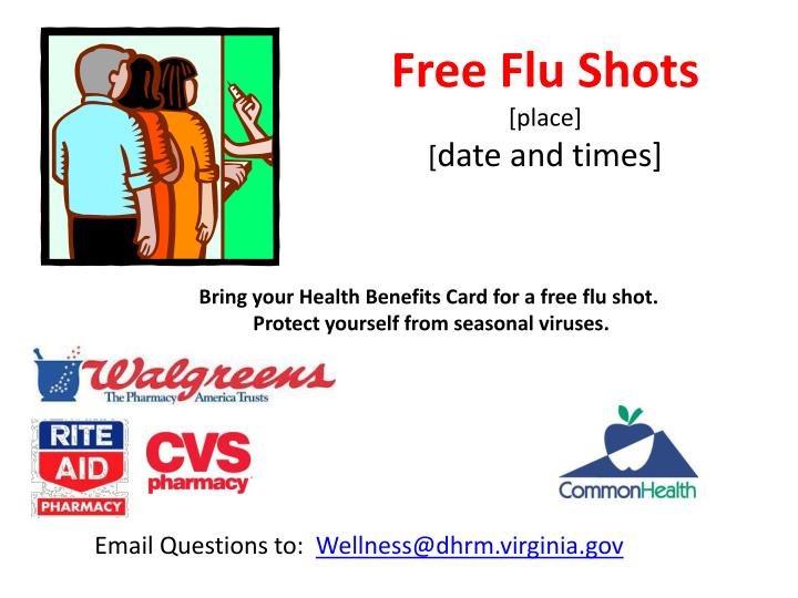 free flu shots place date and times