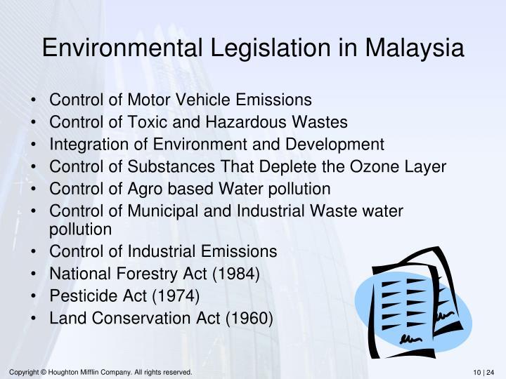Environmental Legislation in Malaysia