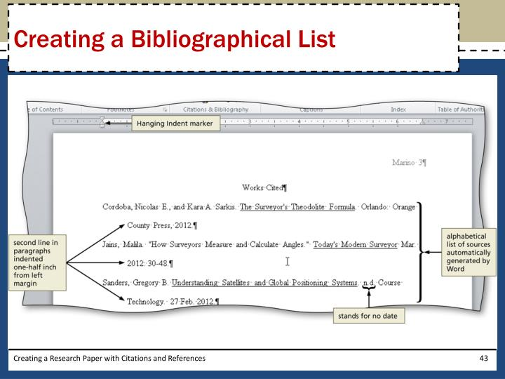 Creating a Bibliographical List