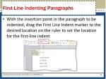 first line indenting paragraphs