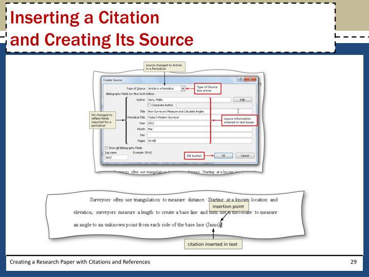 Inserting a Citation