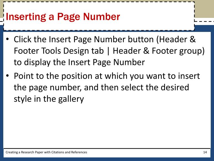 Inserting a Page Number