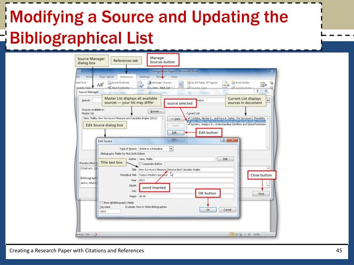 Modifying a Source and Updating the Bibliographical List
