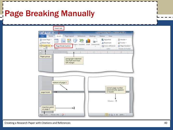 Page Breaking Manually