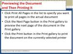 previewing the document and then printing it1