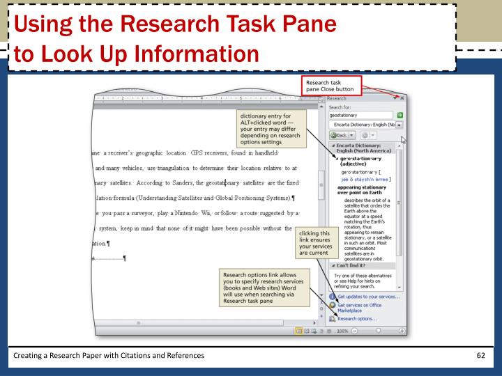 Using the Research Task Pane
