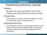 preliminary scenarios komati