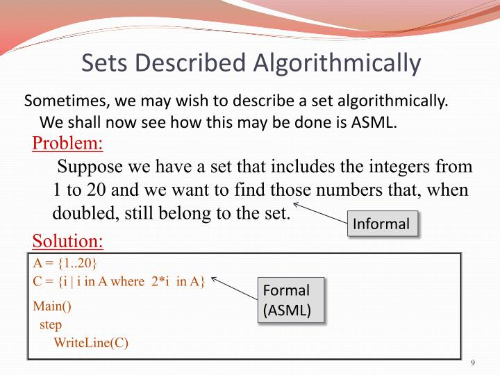 Sets Described Algorithmically