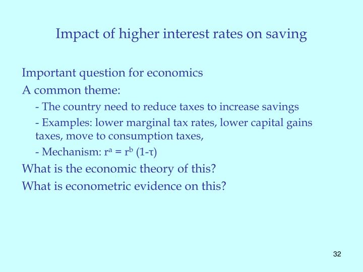 Impact of higher interest rates on saving