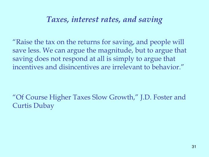 Taxes, interest rates, and saving
