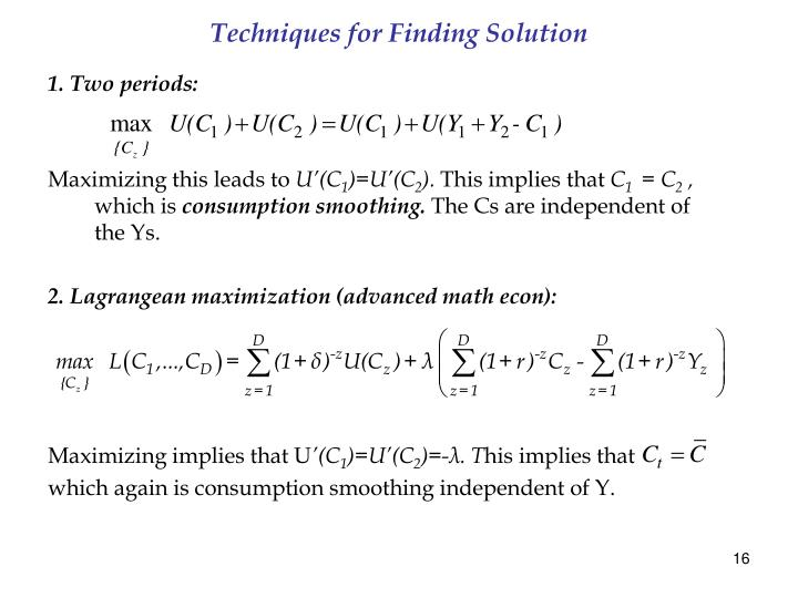 Techniques for Finding Solution