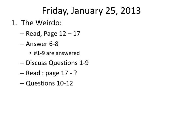 friday january 25 2013