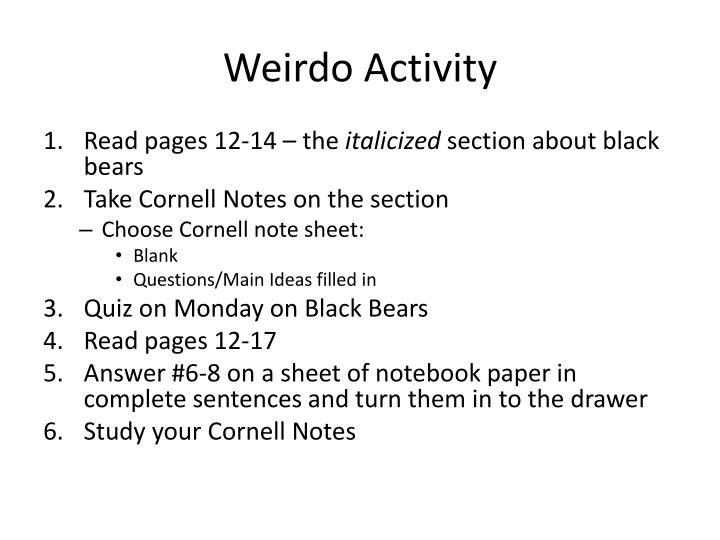 Weirdo Activity