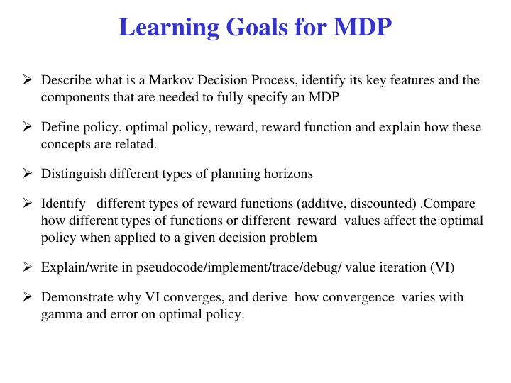 Learning Goals for MDP