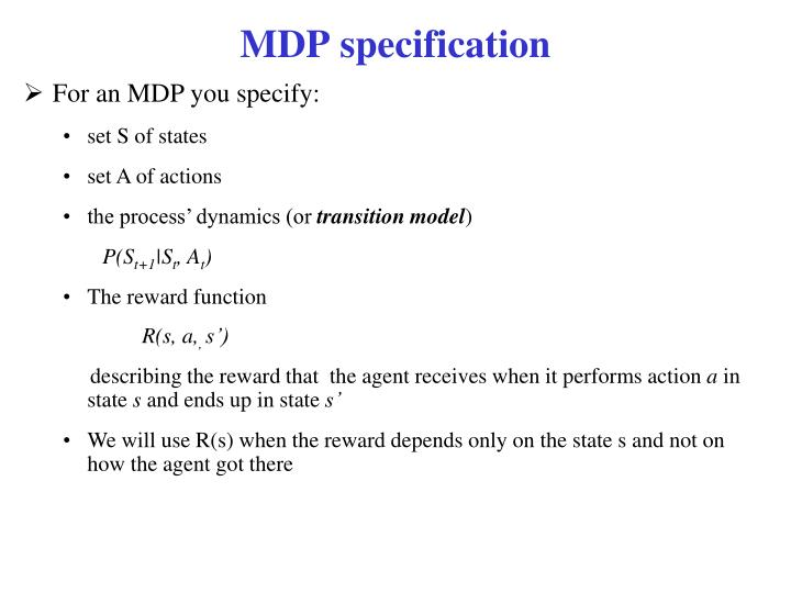 MDP specification