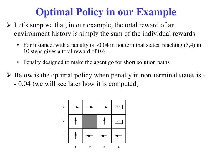 Optimal Policy in our Example