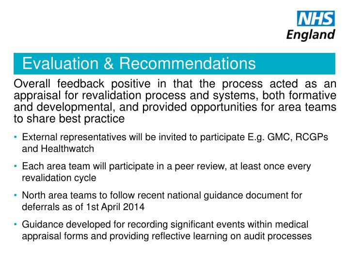 Evaluation & Recommendations