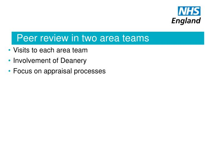 Peer review in two area teams