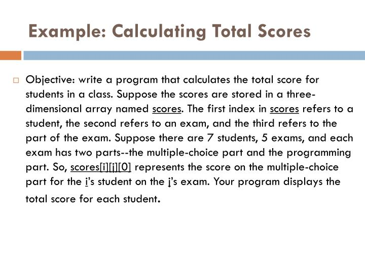 Example: Calculating Total Scores