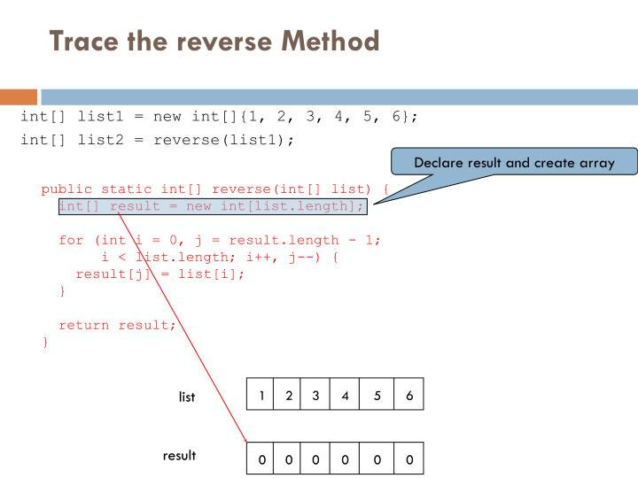 Trace the reverse Method
