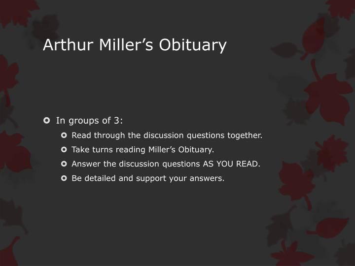 Arthur Miller's Obituary