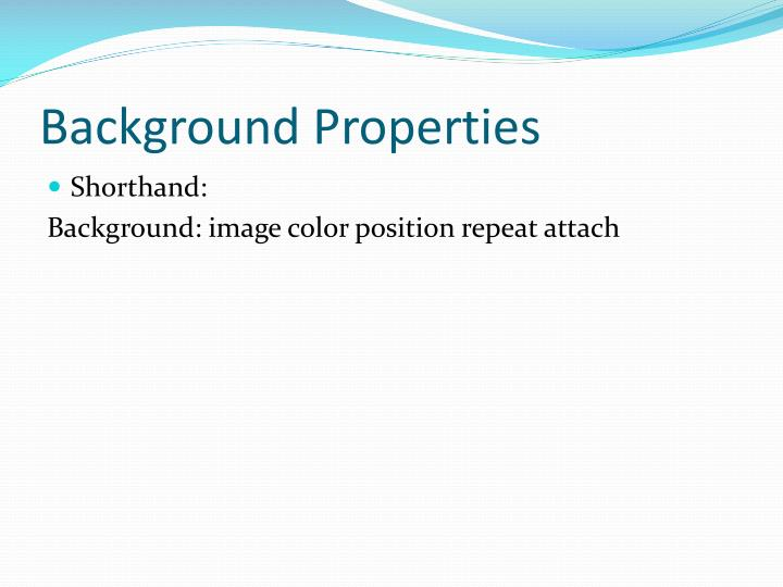 Background Properties