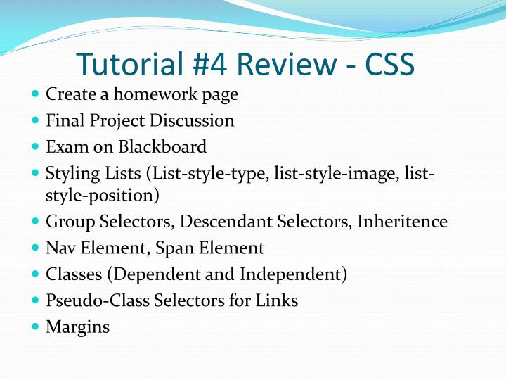 Tutorial 4 review css