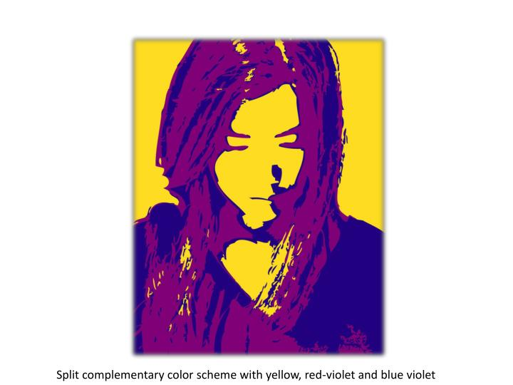 Split complementary color scheme with yellow, red-violet and blue violet