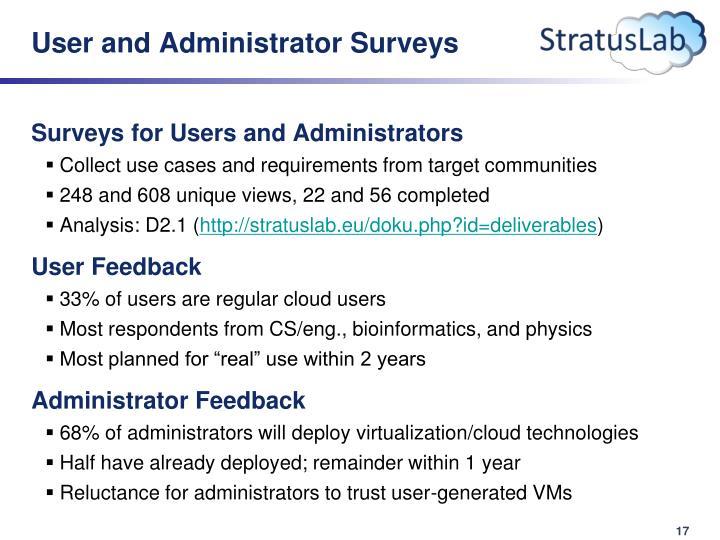 User and Administrator Surveys