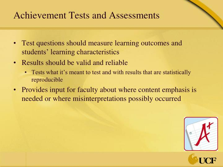 Achievement Tests and Assessments