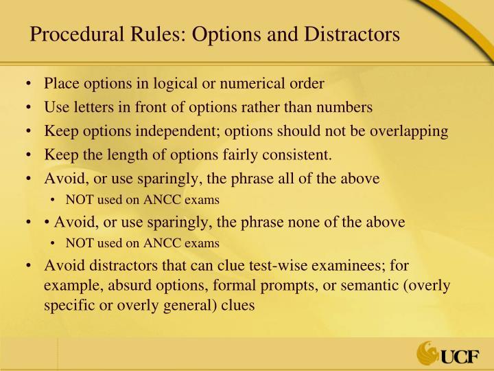 Procedural Rules: Options and Distractors