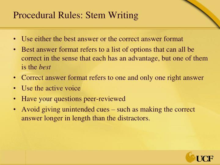 Procedural Rules: Stem