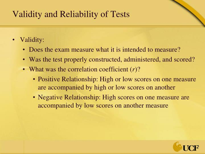 Validity and Reliability of Tests