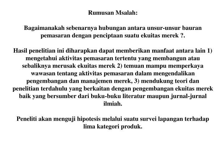 Rumusan Msalah: