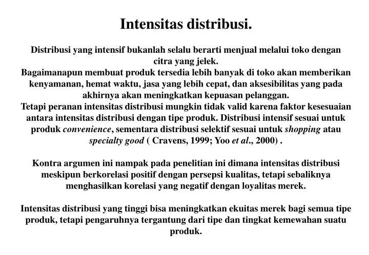 Intensitas distribusi.