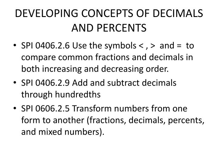 Developing concepts of decimals and percents