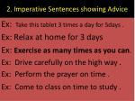 2 imperative sentences showing advice