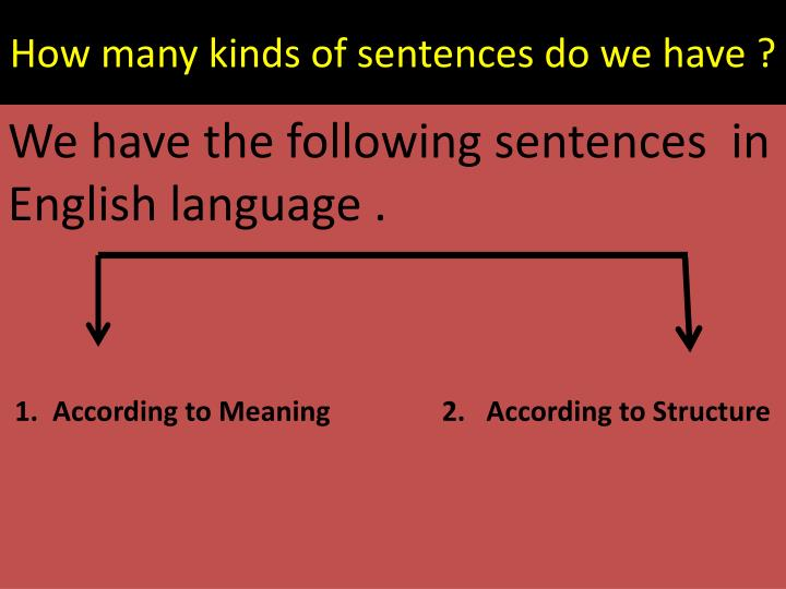 How many kinds of sentences do we have ?