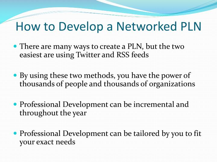 How to Develop a Networked PLN